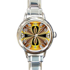 Fractal Yellow Butterfly In 3d Glass Frame Round Italian Charm Watch