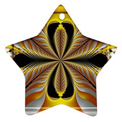 Fractal Yellow Butterfly In 3d Glass Frame Ornament (Star)
