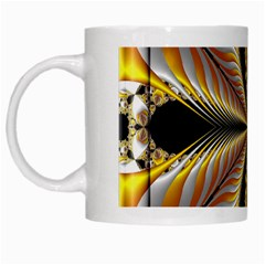 Fractal Yellow Butterfly In 3d Glass Frame White Mugs