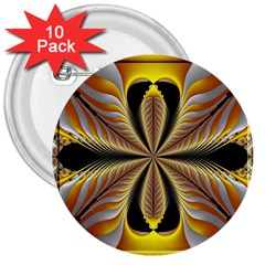 Fractal Yellow Butterfly In 3d Glass Frame 3  Buttons (10 Pack)