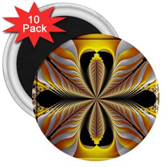 Fractal Yellow Butterfly In 3d Glass Frame 3  Magnets (10 pack)