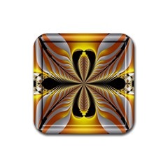 Fractal Yellow Butterfly In 3d Glass Frame Rubber Coaster (Square)
