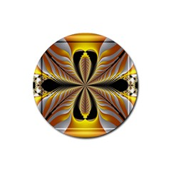 Fractal Yellow Butterfly In 3d Glass Frame Rubber Round Coaster (4 Pack)