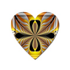 Fractal Yellow Butterfly In 3d Glass Frame Heart Magnet