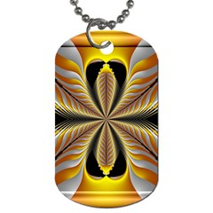 Fractal Yellow Butterfly In 3d Glass Frame Dog Tag (one Side)