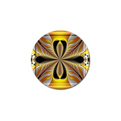 Fractal Yellow Butterfly In 3d Glass Frame Golf Ball Marker