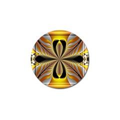Fractal Yellow Butterfly In 3d Glass Frame Golf Ball Marker (10 Pack)