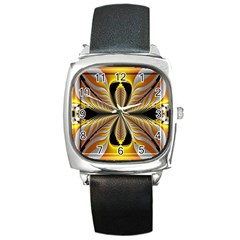 Fractal Yellow Butterfly In 3d Glass Frame Square Metal Watch