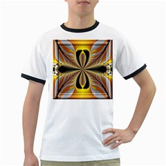 Fractal Yellow Butterfly In 3d Glass Frame Ringer T Shirts
