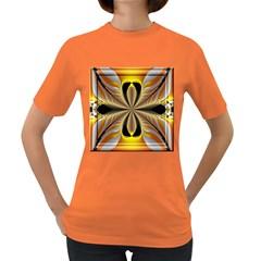 Fractal Yellow Butterfly In 3d Glass Frame Women s Dark T-Shirt