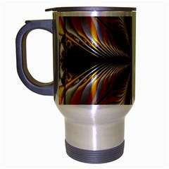 Fractal Yellow Butterfly In 3d Glass Frame Travel Mug (Silver Gray)