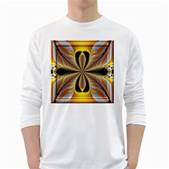 Fractal Yellow Butterfly In 3d Glass Frame White Long Sleeve T Shirts