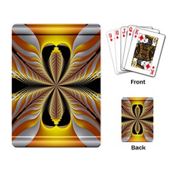Fractal Yellow Butterfly In 3d Glass Frame Playing Card