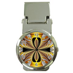 Fractal Yellow Butterfly In 3d Glass Frame Money Clip Watches