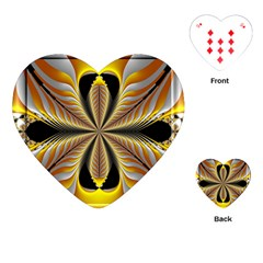 Fractal Yellow Butterfly In 3d Glass Frame Playing Cards (Heart)