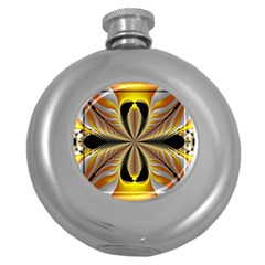 Fractal Yellow Butterfly In 3d Glass Frame Round Hip Flask (5 Oz)