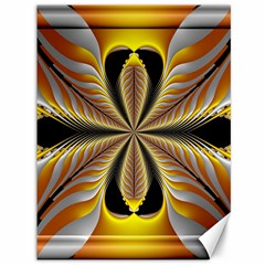 Fractal Yellow Butterfly In 3d Glass Frame Canvas 36  x 48