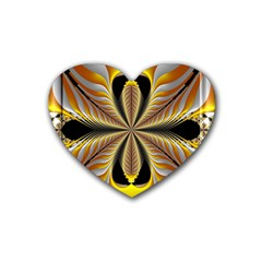 Fractal Yellow Butterfly In 3d Glass Frame Rubber Coaster (heart)