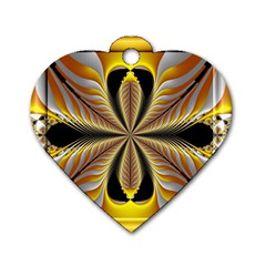 Fractal Yellow Butterfly In 3d Glass Frame Dog Tag Heart (one Side)