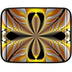 Fractal Yellow Butterfly In 3d Glass Frame Fleece Blanket (Mini)