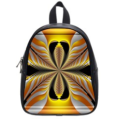 Fractal Yellow Butterfly In 3d Glass Frame School Bags (small)