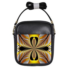 Fractal Yellow Butterfly In 3d Glass Frame Girls Sling Bags