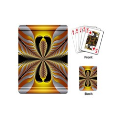 Fractal Yellow Butterfly In 3d Glass Frame Playing Cards (mini)