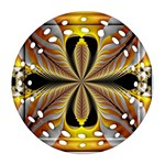 Fractal Yellow Butterfly In 3d Glass Frame Round Filigree Ornament (Two Sides) Front