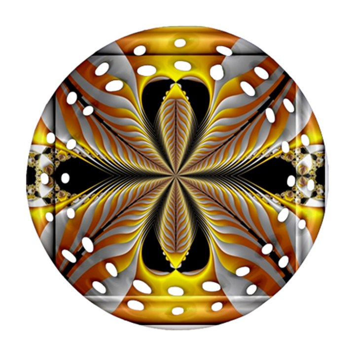 Fractal Yellow Butterfly In 3d Glass Frame Round Filigree Ornament (Two Sides)