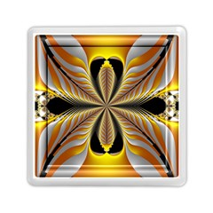 Fractal Yellow Butterfly In 3d Glass Frame Memory Card Reader (square)