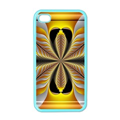 Fractal Yellow Butterfly In 3d Glass Frame Apple iPhone 4 Case (Color)