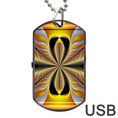 Fractal Yellow Butterfly In 3d Glass Frame Dog Tag USB Flash (One Side)