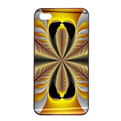 Fractal Yellow Butterfly In 3d Glass Frame Apple Iphone 4/4s Seamless Case (black)
