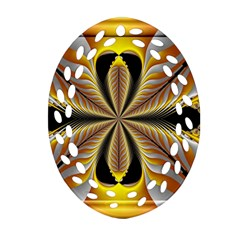 Fractal Yellow Butterfly In 3d Glass Frame Ornament (Oval Filigree)