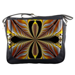 Fractal Yellow Butterfly In 3d Glass Frame Messenger Bags