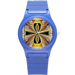 Fractal Yellow Butterfly In 3d Glass Frame Round Plastic Sport Watch (S)