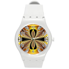 Fractal Yellow Butterfly In 3d Glass Frame Round Plastic Sport Watch (M)