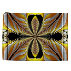 Fractal Yellow Butterfly In 3d Glass Frame Cosmetic Bag (XXL)