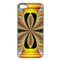Fractal Yellow Butterfly In 3d Glass Frame Apple iPhone 5 Case (Silver)