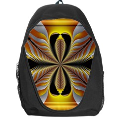 Fractal Yellow Butterfly In 3d Glass Frame Backpack Bag
