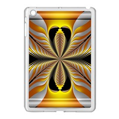 Fractal Yellow Butterfly In 3d Glass Frame Apple iPad Mini Case (White)