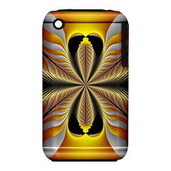 Fractal Yellow Butterfly In 3d Glass Frame Iphone 3s/3gs