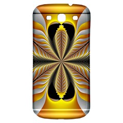 Fractal Yellow Butterfly In 3d Glass Frame Samsung Galaxy S3 S III Classic Hardshell Back Case