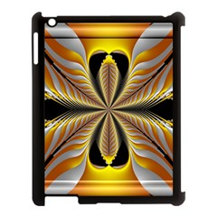Fractal Yellow Butterfly In 3d Glass Frame Apple iPad 3/4 Case (Black)