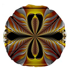 Fractal Yellow Butterfly In 3d Glass Frame Large 18  Premium Round Cushions