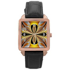 Fractal Yellow Butterfly In 3d Glass Frame Rose Gold Leather Watch