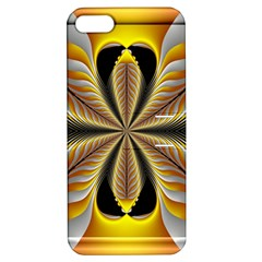 Fractal Yellow Butterfly In 3d Glass Frame Apple Iphone 5 Hardshell Case With Stand