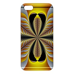 Fractal Yellow Butterfly In 3d Glass Frame Apple iPhone 5 Premium Hardshell Case