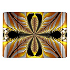 Fractal Yellow Butterfly In 3d Glass Frame Samsung Galaxy Tab 10.1  P7500 Flip Case