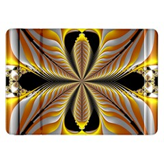 Fractal Yellow Butterfly In 3d Glass Frame Samsung Galaxy Tab 8.9  P7300 Flip Case
